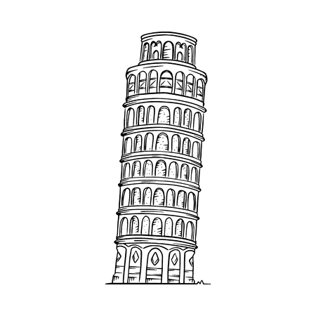 Leaning Tower of Pisa vector illustration. Pisa line drawing 向量圖像