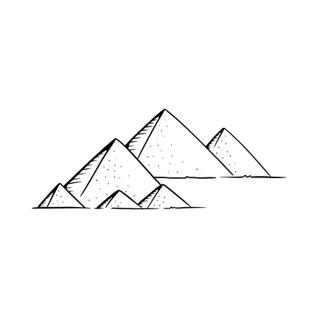 Pyramids vector illustration. Pyramids line drawing