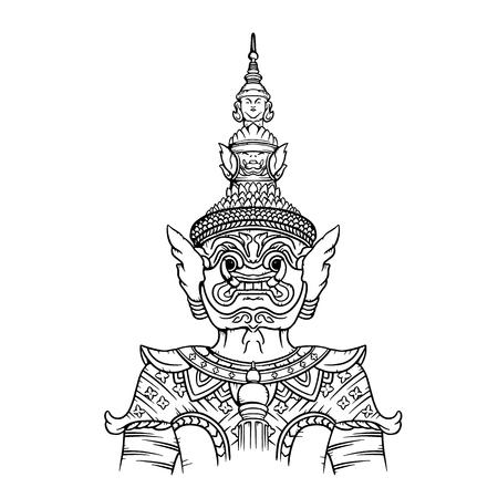 Ilustración de Tailandia de la estatua del guardián gigante. Dibujo lineal de estatua gigante Ilustración de vector