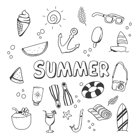 Summer collection Vector illustration. Cute draw concept of Summer
