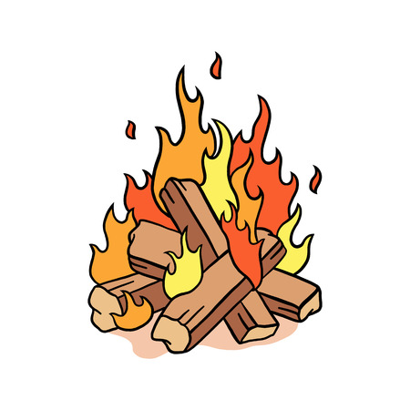 Fire camp vector illustration. illustration of bonfire
