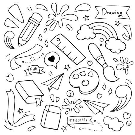 Stationary vector illustration. Doodle design concept