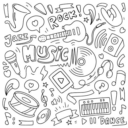 Music Doodle vector illustration. Drawing design concept Ilustracja