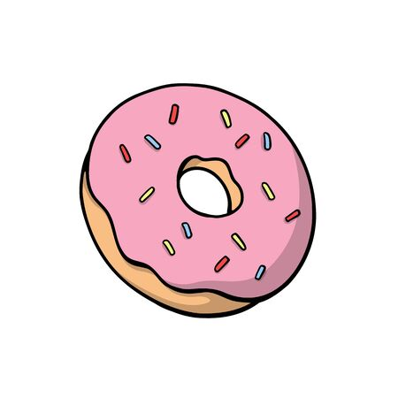 donut with rainbow sprinkles. Cute vector illustration Ilustracja