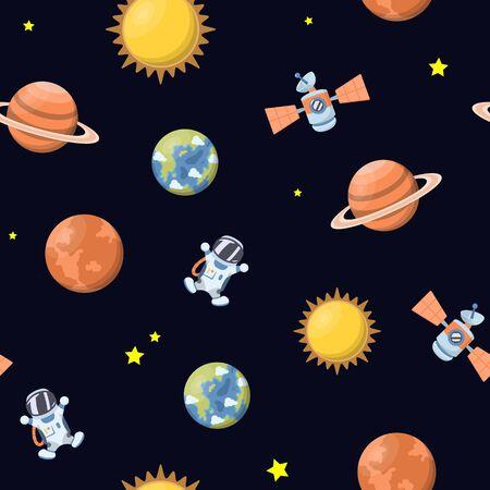 Galaxy seamless pattern. Vector illustration  イラスト・ベクター素材