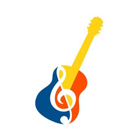 Guitar icon with Treble Clef. Colorful design. Vector illustration