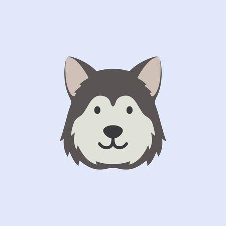 husky dog face. cute vector illustration