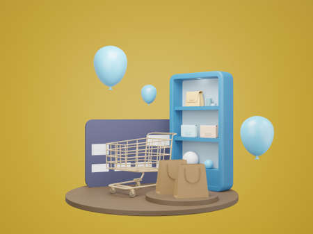 Shopping Online on website. mobile application online shopping. delivery and parcel box. 3D rendering Archivio Fotografico