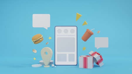 Concept of delivery food. 3D phone with food. 3d rendering