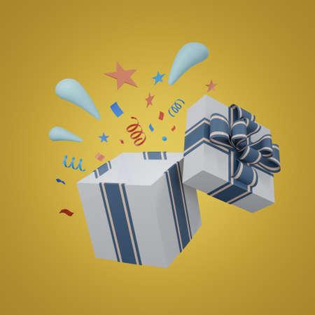 giftbox 3d rendering. giftbox 3d illustration