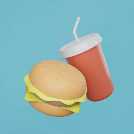 Hamburger and soda water 3d rendering. food 3d illustration Archivio Fotografico