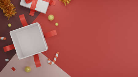 Giftbox  Christmas background. Top view giftbox with space area. 3D rendering