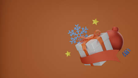 3D Giftbox on background. Christmas background with empty space 3D rendering Archivio Fotografico