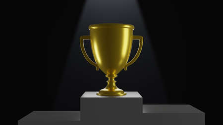 3D Trophy on podium. Empty space with black background 3D rendering