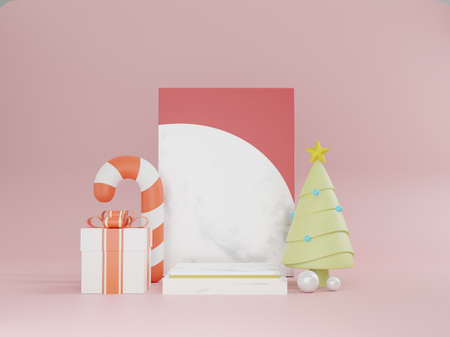 Christmas with podium. 3D New year's day shopping, giftbox, Christmas tree. 3D rendering