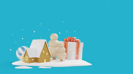 Christmas's day background with house on snow field.