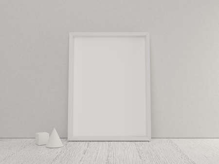 poster frame empty mock up with white wooden floor and mini geometric model Archivio Fotografico