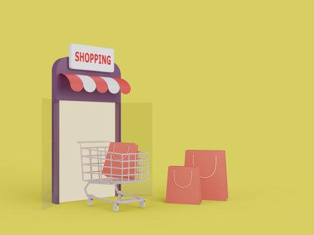 Shopping Online on website. mobile application online shopping. delivery concept. 3D illustration