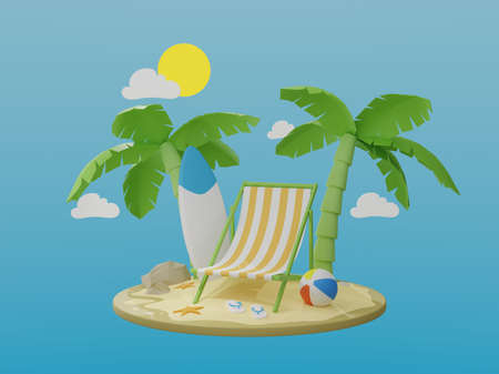 Vacation and travel concept. palm tree and beach chair on a paradise island