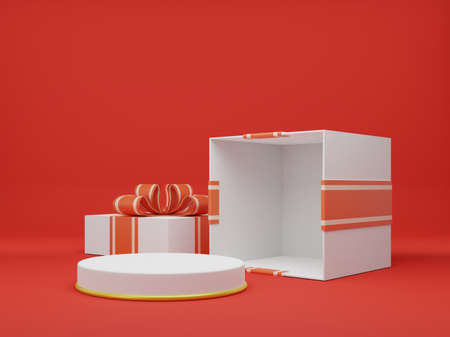 Open giftbox 3d rendering. giftbox 3d illustration