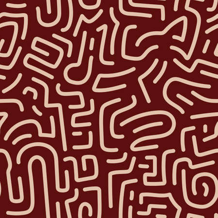 Memphis seamless pattern. silhouette line background. Vector illustration Vettoriali