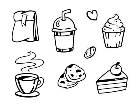 set of Coffee. Cute hand drawn vector illustration
