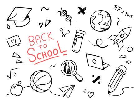 Back to school doodle. Vector illustration Vettoriali