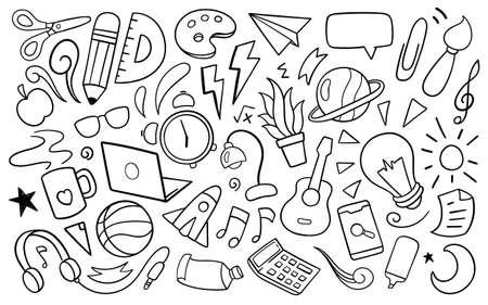 Education accessories doodle. Vector illustration Vettoriali