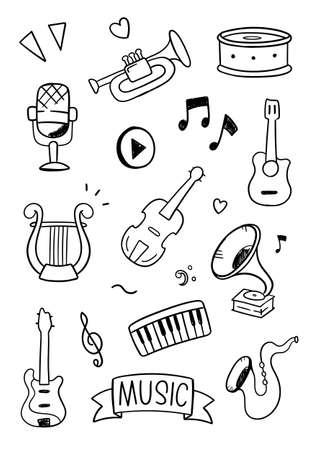 Music doodle vector illustration. Drawing design concept Vettoriali