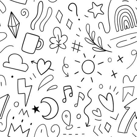 Element decoration doodle pattern seamless. Vector illustration
