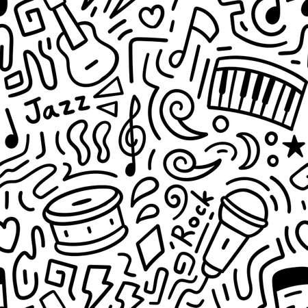 Music doodle pattern seamless. Vector illustration Vettoriali