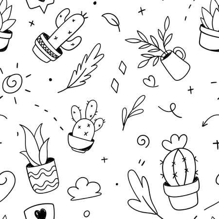 plant, cactus, flower doodle pattern seamless. Vector illustration