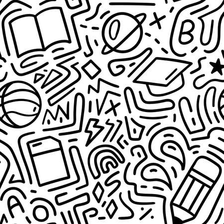 Education, back to school doodle pattern seamless. Vector illustration