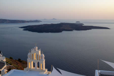 Church at Fira city, sea, dusk, volcano, islands, Greece