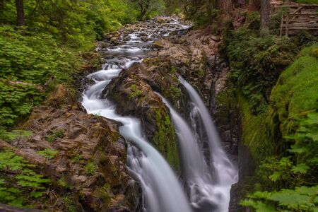 The famous and beautiful Sol Duc Falls at Park, USA, long exposure to smooth out the water