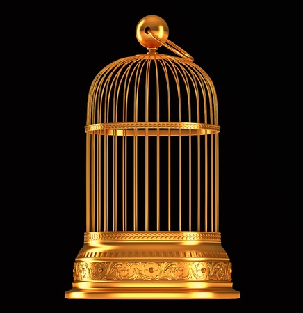 Golden birdcage isolated over black background photo