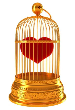 Imprisoned love: red heart in golden cage isolated on white photo