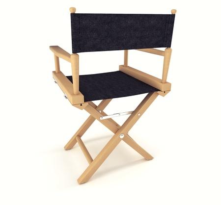 filmregisseur: Flim industrie: achteraanzicht van bestuur stoel op witte achtergrond