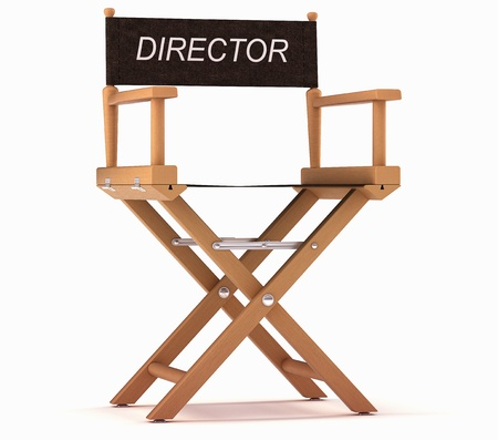 Cinematography: directors chair over white background photo