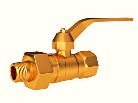 Close-up of Gate valve or stopcock isolated over white. Large resolution Stock Photo