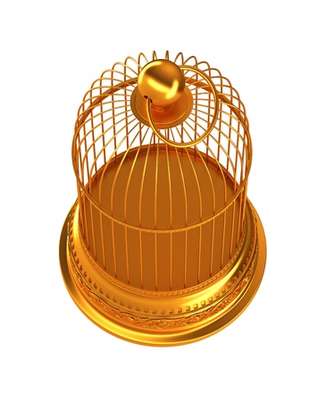 Confinement: Golden birdcage isolated over white background photo
