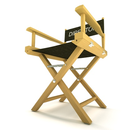filmmaker: filmmaker or producer: directors chair over white background
