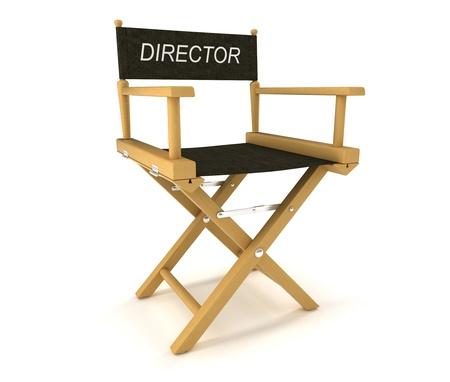 silla de madera: Industria del Flim: directores presidir sobre fondo blanco Foto de archivo