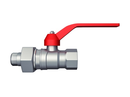 Gate valve with red handle isolated over white. Large resolution