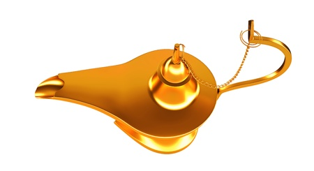three wishes: Genie golden lamp top view isolated over white background Stock Photo