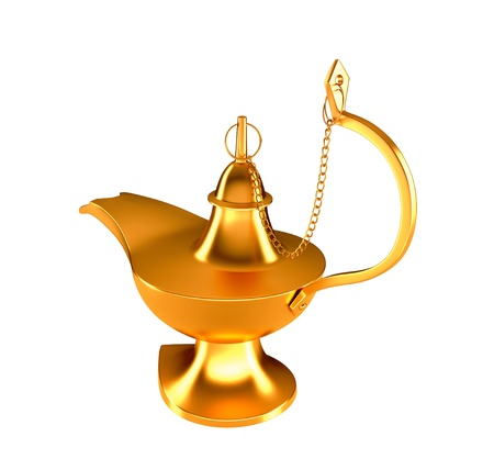 three wishes: Golden Genie lamp isolated over white background