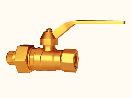 Golden stopcock or Gate valve isolated over white. Large resolution