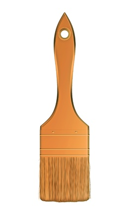 Housework and renovation: golden paintbrush isolated over white background Stock Photo