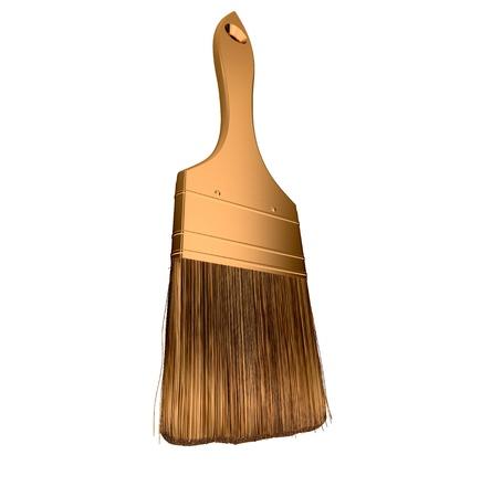 Housework: golden paintbrush isolated over white background