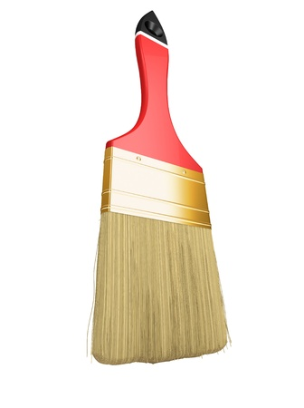 Housework: red paintbrush isolated over white background